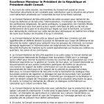 Communiqué du Conseil National de Sécurité