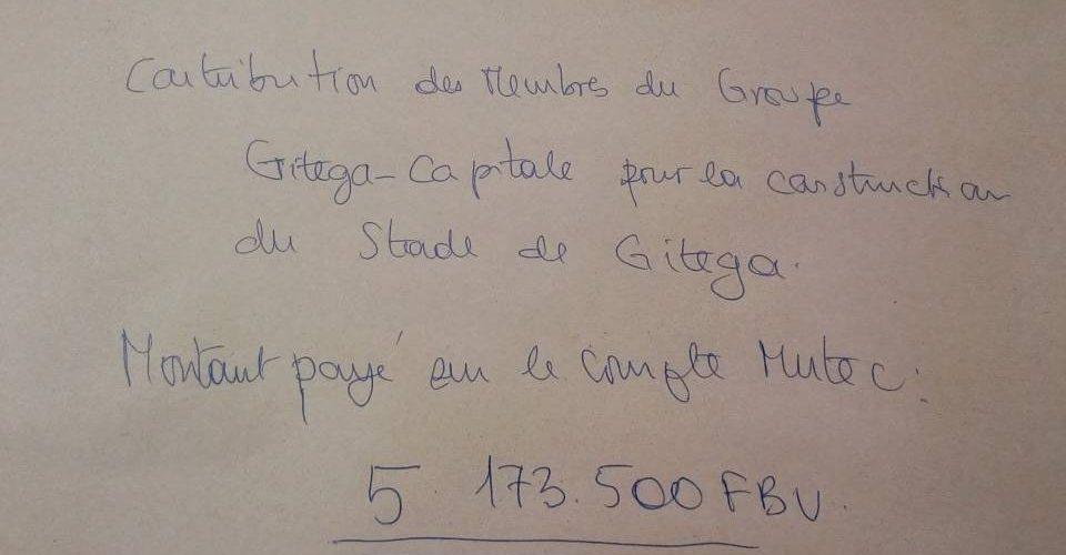 Un groupe Whatsapp de Bagumyabanga de Gitega donne 2.960 Dollars US pour le Stade de Gitega