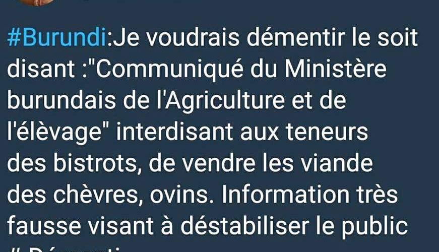 Fake news : Démentis du Ministère burundais de l'Agriculture, concernant une épidémie de peste …
