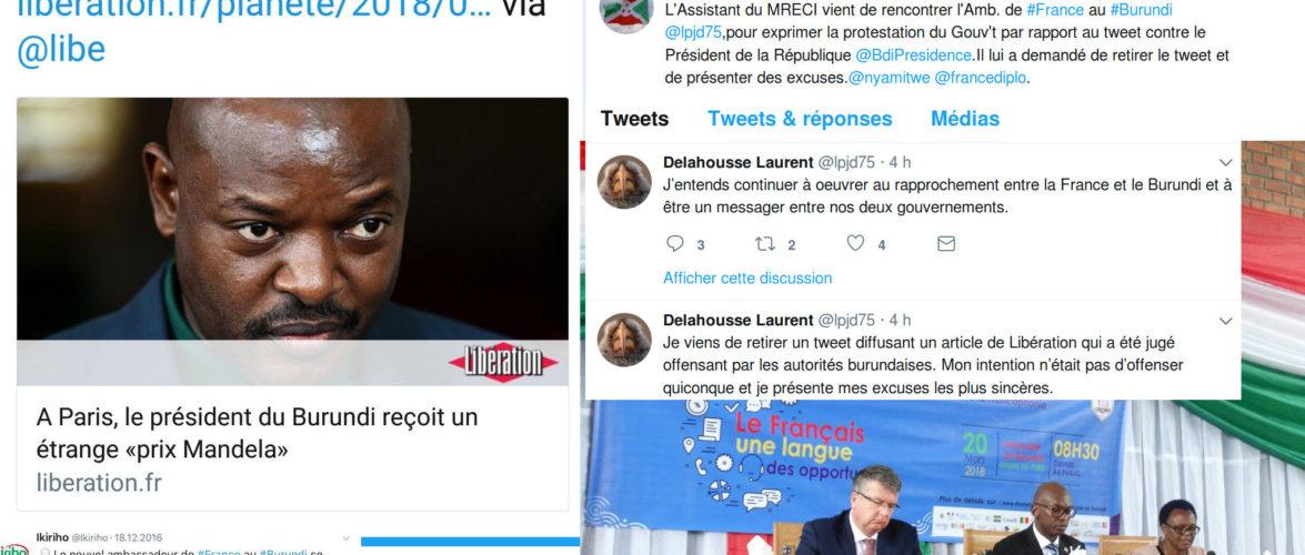 Le Président du Burundi Pierre NKURUNZIZA  reçoit  le – Prix Mandela du courage –  à Paris, en France : L'Ambassadeur de France au Burundi frustré, réagit et réalise le Tweet de trop…