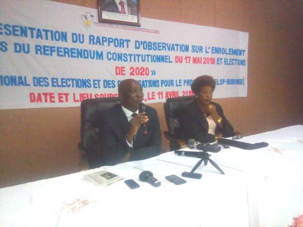 La Société Civile du Burundi présente son rapport bilan sur le processus d'enrôlement des électeurs pour le référendum constitutionnel 2018 et les élections de 2020
