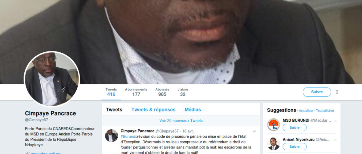 Les propos du porte-parole du CNARED, Mr Pancrace CIMPAYE dans Jeune Afrique sur le nouveau ministre des Affaires étrangères du Burundi sont aberrants.