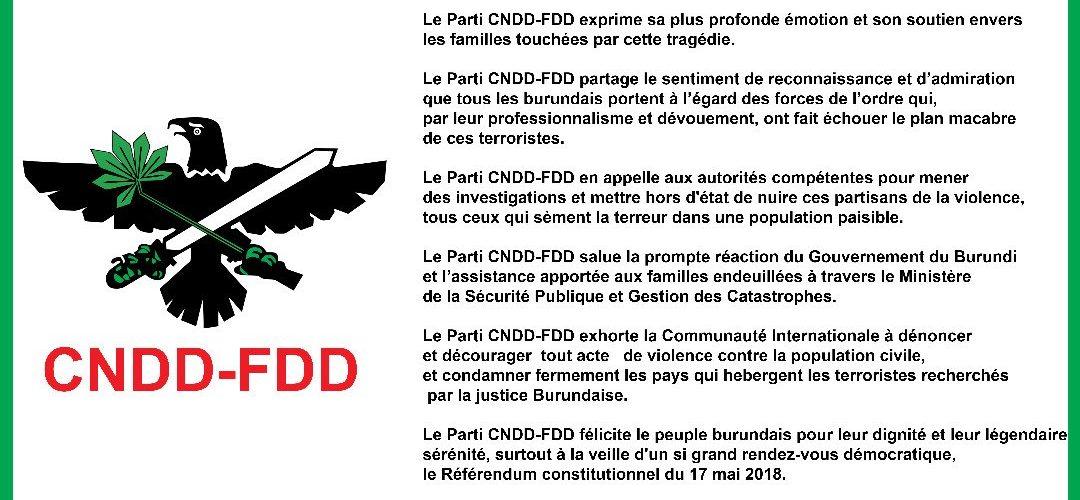 Communiqué du CNDD-FDD sur l'attaque terroriste de cibitoke 12/05/2018