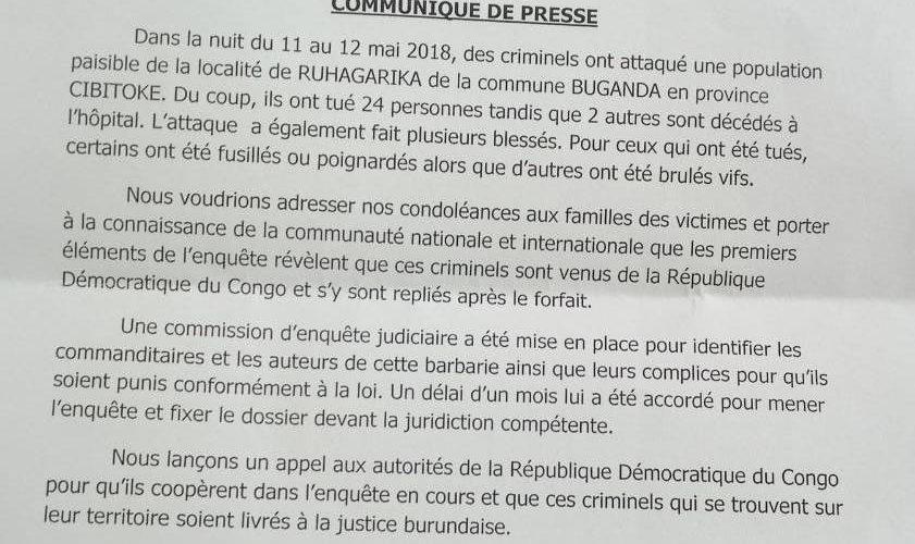 Mise en place d'une commission d'enquête judiciaire sur le Massacre de Ruhagarika à Cibitoke avec un mandat d'un mois