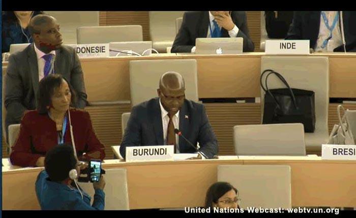 Déclaration de Monsieur TABU Rénovat ambassadeur et représentant permanent du Burundi à Genève