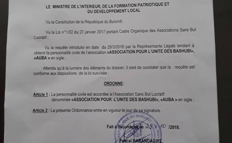 Burundi : Agrément de l'Association pour l'Unité des Bashubi