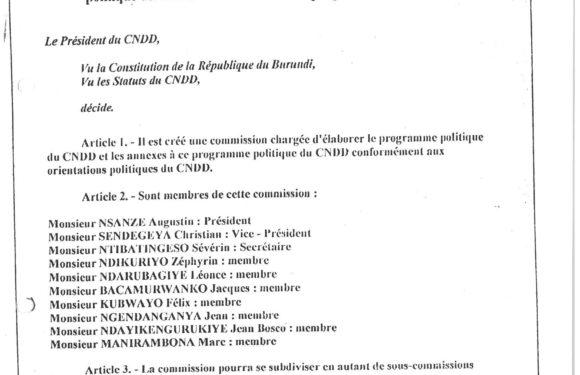Burundi / Intwari 2018 : Le 1er Bureau Politique du CNDD-FDD – Les concepteurs idéologiques du CNDD/FDD
