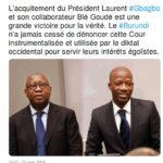 Afrique : Le CNDD-FDD se réjouit de la libération du Président Laurent GBAGBO à la CPI