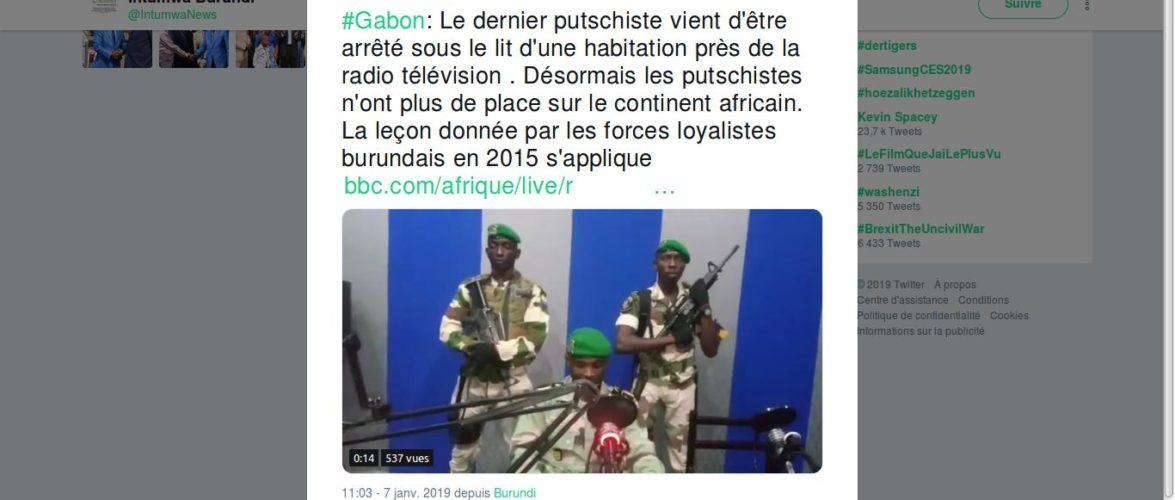 Réaction du Burundi : Le Gabon échappe à un coup d'Etat militaire
