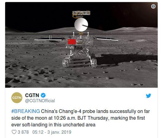 Burundi – Science / Histoire : La Chine réussit  le premier alunissage sur la face cachée de la Lune