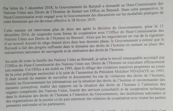 L'Office du Haut-Commissariat des Nations Unies aux Droit de l'Homme de l'ONU au Burundi a fermé ses portes le 28 février 2019