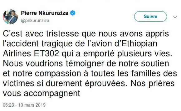 BURUNDI / ETHIOPIE : Le Président du Burundi présente ses condoléances aux familles des victimes de l'accident tragique de l'avion d'Ethiopian Airlines ET 302