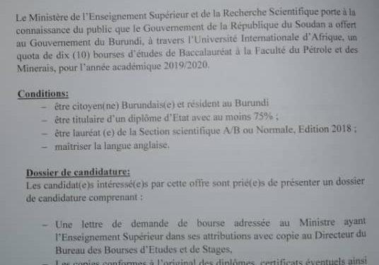 Burundi / Soudan : 10 bourses d'études pour la Faculté du Pétrole et des Minerais de l'Université Internationale d'Afrique, année 2019-2020