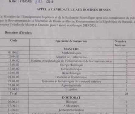 La Russie offre au Burundi 31 bourses d'étude