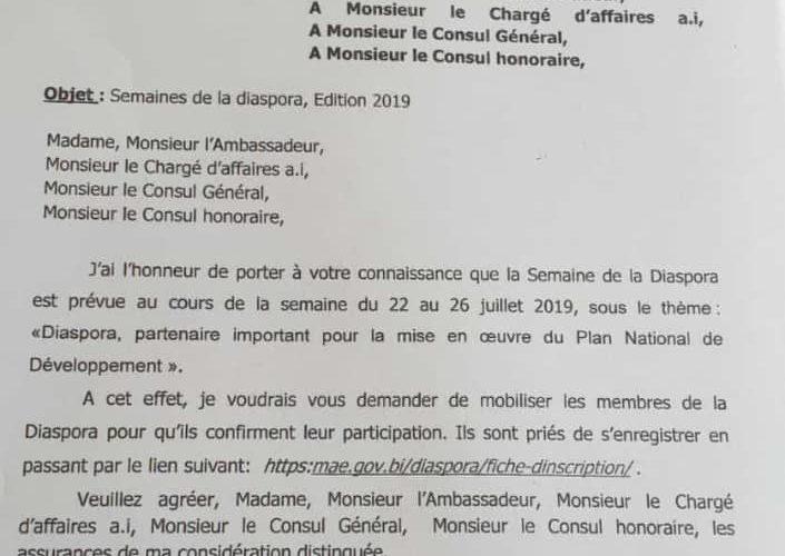 Burundi : Semaine de la diaspora burundaise du 22 au 26 juillet 2019