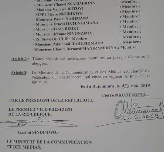 Burundi : Nomination des membres du CNC