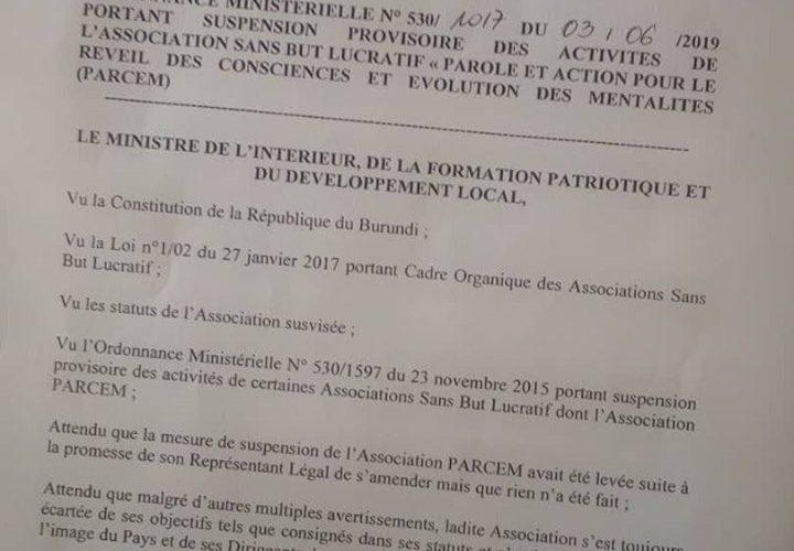 Le Burundi suspend l'ONG PARCEM pour raison sécuritaire à quelques mois des élections démocratiques de 2020