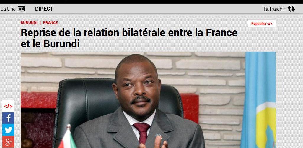 La France annonce,via RFI, sa reprise des relations bilatérales avec le Burundi à quelques mois des élections de 2020