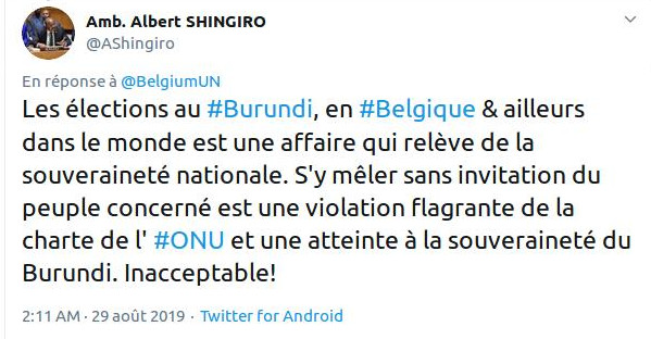 Élections démocratiques burundaises de 2020 : Le Burundi rappelle à l'ordre la Belgique à l'ONU – Occupez vous de vos affaires !