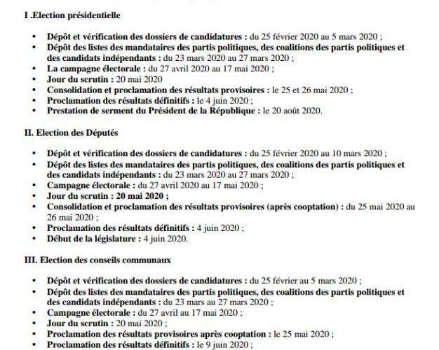 Démocratie : Publication du calendrier électorale 2020 par la CENI du Burundi