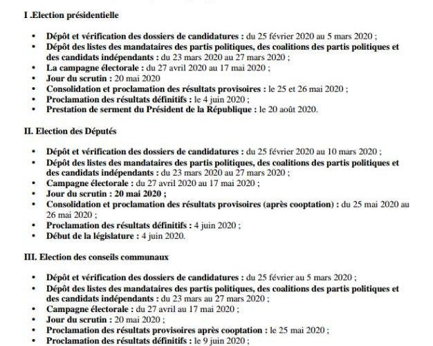 Calendrier Electoral 2019.Democratie Publication Du Calendrier Electorale 2020 Par