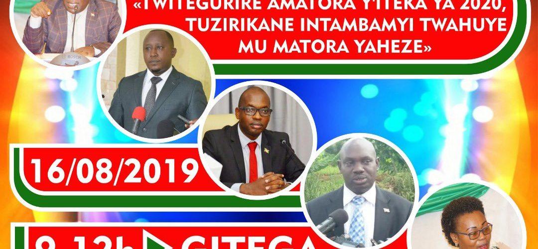 Burundi : l'Etat organise une conférence débat publique sur les élections de 2020, vendredi 16 août 2019, à Gitega dès 9 h