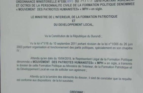 Burundi : Agrément du 34ème parti politique burundais, le MPH