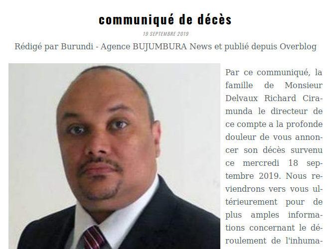 Burundi : Bruxelles – Communiqué de décès de Monsieur Delvaux Richard CIRAMUNDA, directeur de l'Agence BUJUMBURA News.