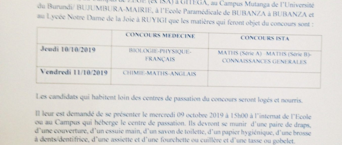 Communiqué destiné aux inscrits aux concours 2019 d'entrée en médecine  au Burundi