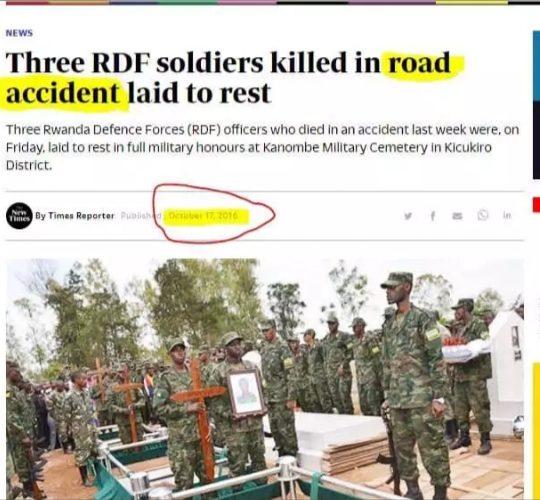 Des soldats Rwandais auraient été victimes d'accidents de roulage dans la Kibira