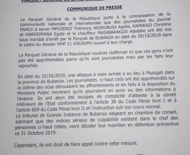 Guerre Géopolitique / Media : 5 collaborateurs d'IWACU en détention préventive au Burundi