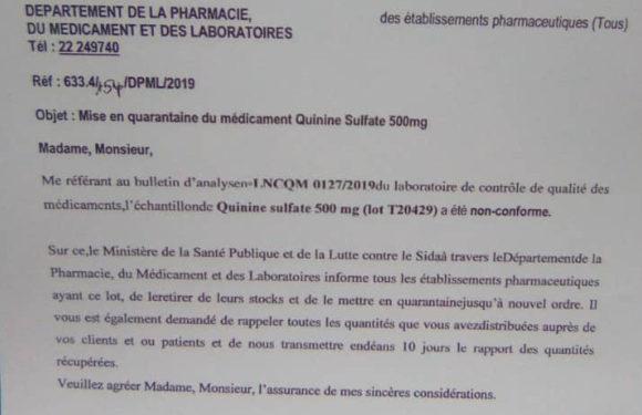 Santé : Le Burundi met en quarantaine un lot de Quinine sulfate 500mg