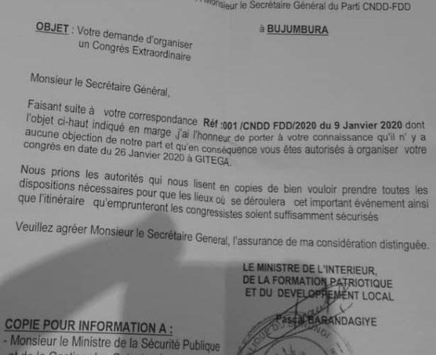 Burundi / Elections Démocratiques 2020 : Le 26 janvier 2020 à Gitega, Congrès National du CNDD-FDD