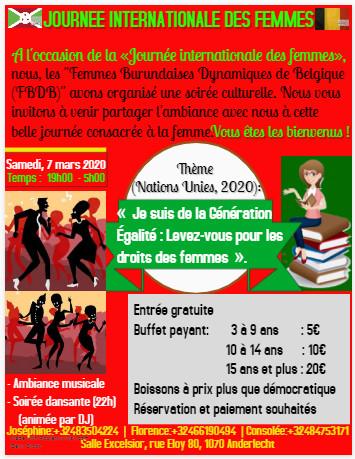 Burundi / Diaspora – Agenda : FBDB vous invite à la Journée internationale des femmes – Samedi 7/03/2020 – Rue Eloy 80, 1070 Bruxelles – 19h