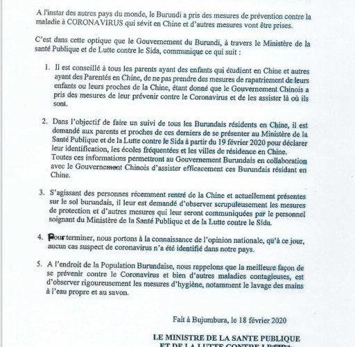Déclaration du  gouvernement du Burundi  / Coronavirus , Covid-19