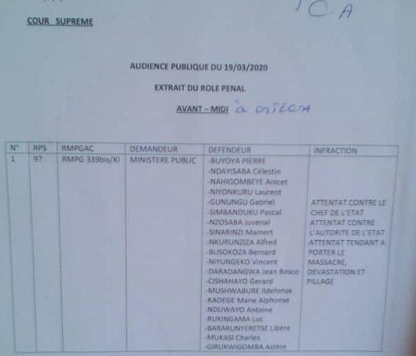 Burundi : Cour Suprême en itinérance à GITEGA  – Comparution des assassins de Feu NDADAYE