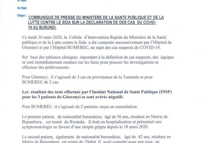 Burundi :  Le compteur COVID-19 est désormais  à 2