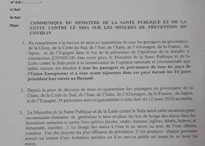 Mise en quarantaine de 14 jours pour tous les passagers de l'UE  – COVID-19 / Burundi