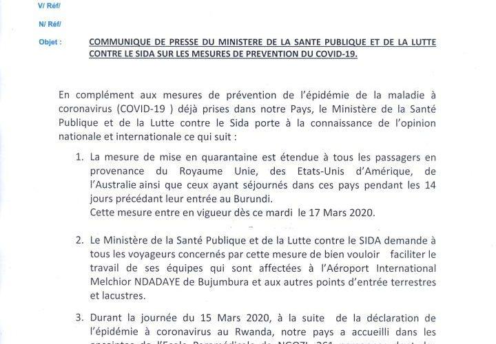 Nouveau communiqué sur le COVID-19 ( 16/03/2020 ) au Burundi