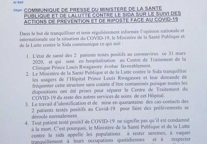 Burundi : L'état de santé des 2 patients COVID-19 évolue favorablement