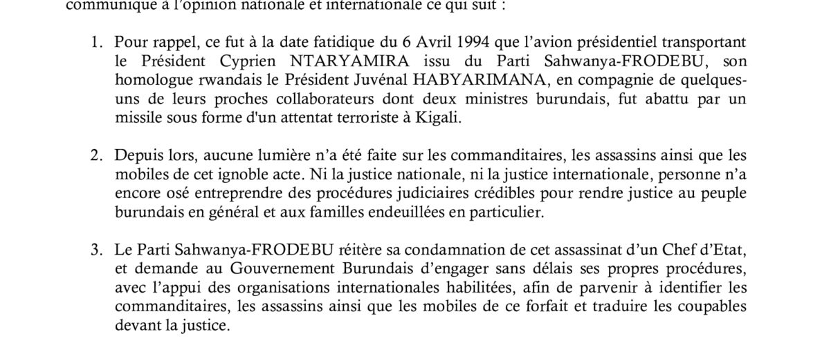 SAHWANYA-FRODEBU  commémore  les 26 ans après  Feu NTARYAMIRA Cyprien / Burundi