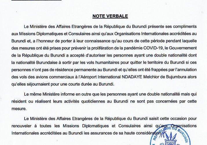 DIASPORA / COVID-19 :  Conditions pour les binationaux de sortir du Burundi