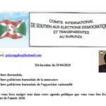 19/04/2020 : Déclaration du Comité International de Soutien Aux Elections Démocratiques et Transparentes au Burundi