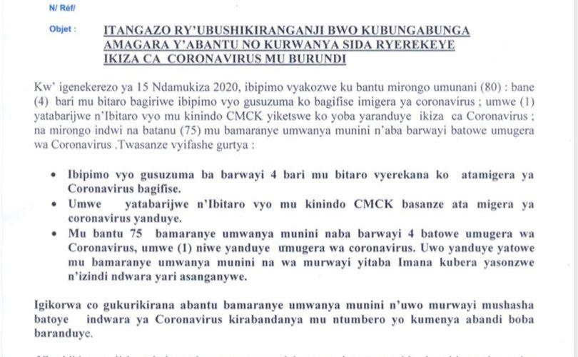 COVID-19 :  1 cas POSITIF  et  4 patients guéris – 17 avril 2020 / Burundi