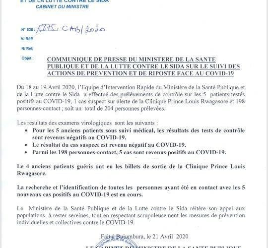 COVID-19 :  5 cas positifs et 4 guéris  –  Communiqué GOV.BI du 21/04/2020 – Burundi