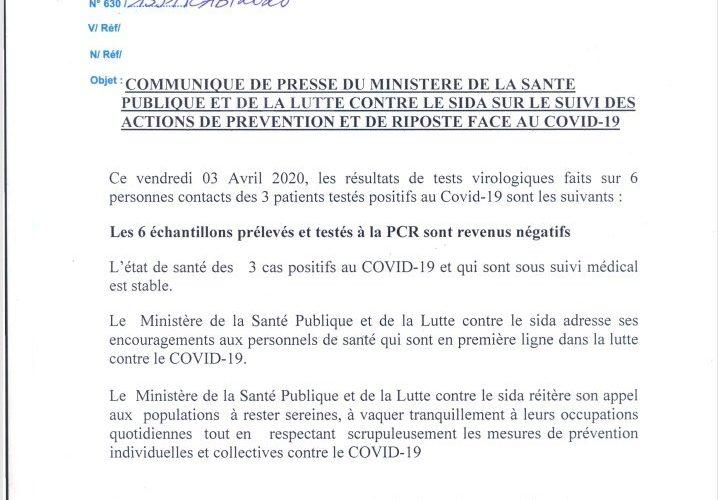 COVID-19 :  Échantillons de 6 cas prélevés négatifs à la PCR /Burundi