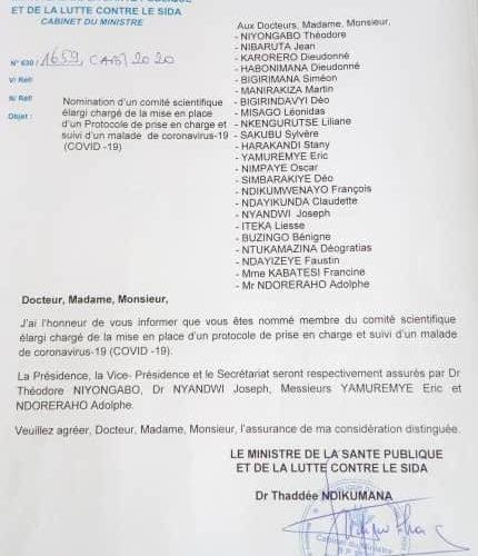 COVID-19 : L'état met en place d'un comité scientifique élargi / Burundi