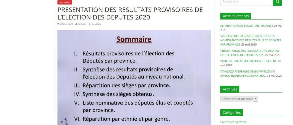 La CENI publie les résultats provisoires des Législatives 2020 / BURUNDI