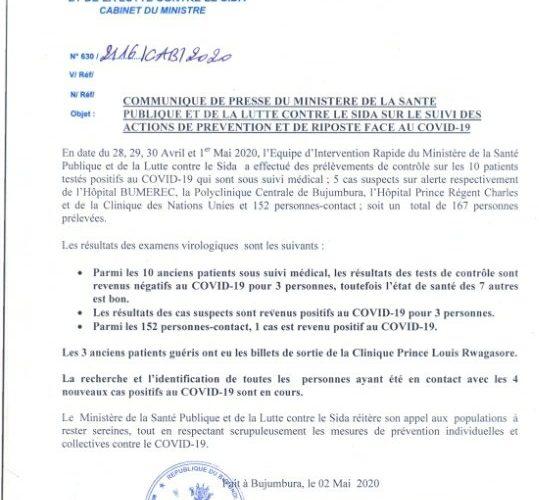 COVID-19 :  11 cas positifs sur 19,  7 guéris, et 1 décès particuliers,  2 mai 2020 / Burundi