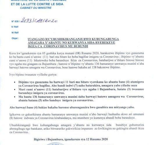 COVID-19 :  15 cas positifs sur 27,  11 guéris, et 1 décès particuliers,  12 mai 2020 / Burundi